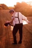 Bride And Groom At Sunset Royalty Free Stock Image