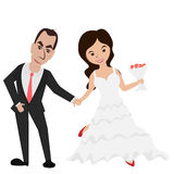 Bride And Groom Holding Hands/ Groom And Bride Royalty Free Stock Photo