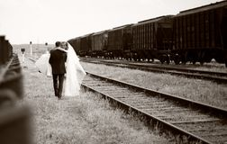 Bride And Groom Walking Stock Photos