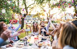 Free Bride And Groom With Guests At Wedding Reception Outside In The Backyard. Stock Image - 118686391