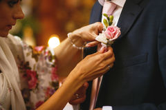 The bride apparel  a buttonhole for groom.  Stock Images