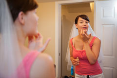 Bride Applying Make up Royalty Free Stock Images