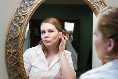 Bride Applying Makeup Wedding Day Stock Photo