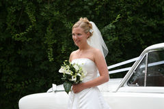 The Bride Arrives :3. The bride steps out of her car Stock Photography