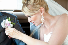 Bride attaching boutonniere on husbands jacket Royalty Free Stock Photo