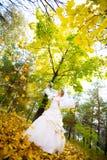 Bride in autumn Stock Photo