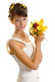 Bride with autumn bouquet Stock Images