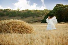 Bride in autumn field stock photos