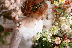 Bride among autumn flowers Stock Photography