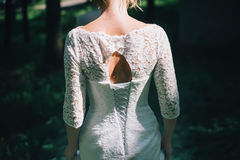 Bride back in forest. Sun day summer Stock Photography