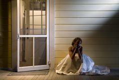 Bride on Back Porch Stock Photos