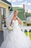 Bride on the balcony Royalty Free Stock Photography