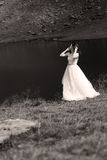 Bride at Balea Lake, Romania Stock Photo