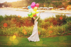 Bride with balloons Royalty Free Stock Photography