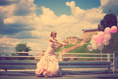 Bride with balloons Royalty Free Stock Photos