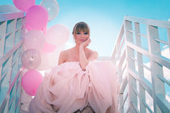 Bride with balloons Royalty Free Stock Images