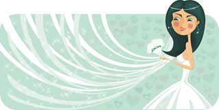 Bride banner in vector Royalty Free Stock Images