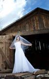 A bride at the barn! Royalty Free Stock Image