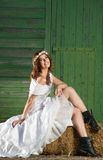 Bride, Barn and Boots Royalty Free Stock Images