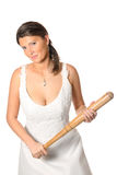 Bride with baseball bat over white background Stock Image