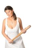 Bride with baseball bat over white background Stock Image