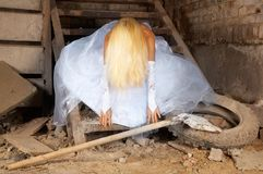 Bride in the basement Royalty Free Stock Photo