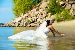 Bride on the beach Royalty Free Stock Photography