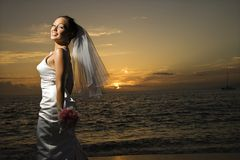 Bride on beach. Royalty Free Stock Photography