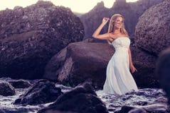 Bride at the beach Stock Photo