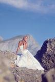 Bride at the beach. Bride in wedding dress at the beash Stock Images
