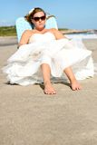 Bride on the Beach Stock Images