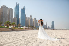 Bride At Beach Wedding Royalty Free Stock Images