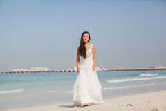 Bride At Beach Wedding Stock Images