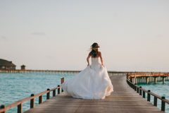 Bride on the beach stock image