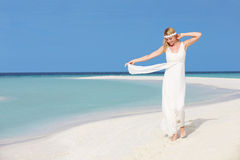 Bride At Beautiful Beach Wedding Stock Photo