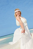 Bride At Beautiful Beach Wedding Stock Photography