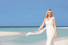 Bride At Beautiful Beach Wedding Stock Photo