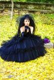 Bride. Beautiful bride in black dress bright autumn Royalty Free Stock Photos