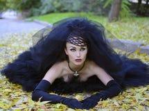Bride. Beautiful bride in black dress bright autumn Stock Photography