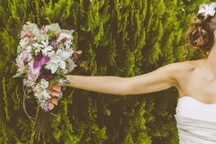 Bride with a Beautiful Bouquet Stock Photography