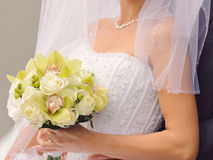 Bride with Beautiful Bouquet Stock Images