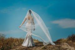 Bride in a beautiful dress highlighting figure stock photo
