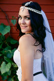 Bride in a beautiful dress and long veil Royalty Free Stock Photos