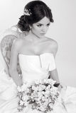 Bride. Beautiful girl wearing in modern wedding dress. Fashion m Royalty Free Stock Photo