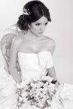 Bride. Beautiful girl wearing in modern wedding dress. Fashion m Royalty Free Stock Photo