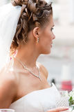 Bride with beautiful hairstyle. #6. Bride in profile with beautiful hairstyle. #6 royalty free stock photography