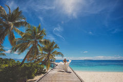 Bride on beautiful Maldivian beach Stock Image