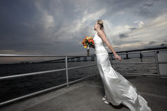 Bride and a beautiful skyscape Royalty Free Stock Image