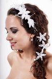 Bride beautiful stylish young woman`s with ornaments in hair. Stock Photos
