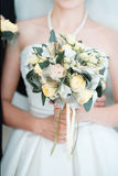 Bride with a beautiful tender wedding bouquet Royalty Free Stock Photos